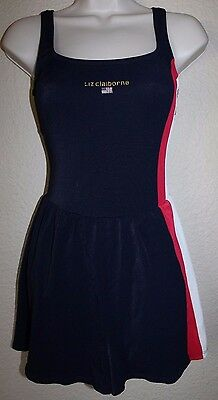 Vintage 80s Liz Claiborne Navy Red Shorts Bathing Suit One Piece Swimsuit Small