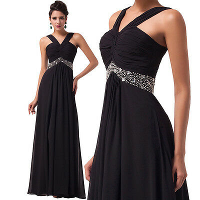 Black Formal Prom Dresses Long Cocktail Party Ball Gown Evening Bridesmaid Dress
