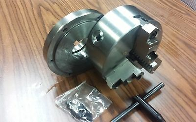 "6"" 3-JAW SELF-CENTERING LATHE CHUCK top & bottom jaws w. L00 adapter back plate"
