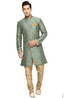 Beige And Teal Art Silk Sherwani