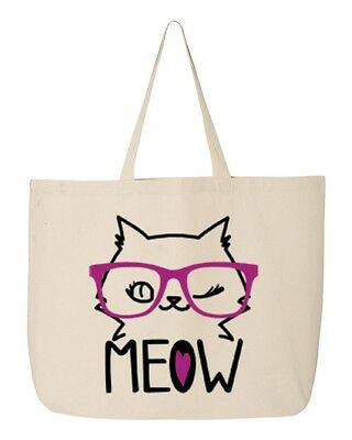 Kitty Cat W/Glass Meow Jumbo Heavy Canvas Tote Cat Lovers Reusable Bag 12 Oz