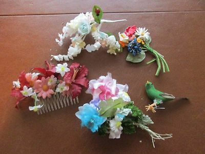 Lot of 4 Small Millinery Bouquets Bird