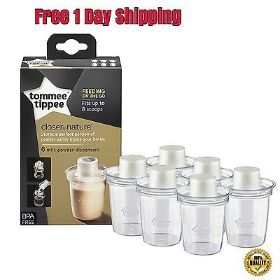 New Tommee Tippee Closer To Nature Milk Powder Dispensers Pack Of 6 BPA Free