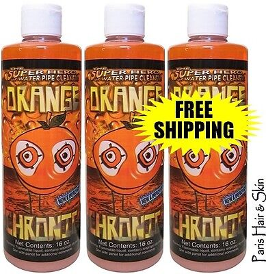 Orange Chronic 3 Bottles Cleaners Glass Metal Pipe 16oz Each FAST FREE SHIPPING