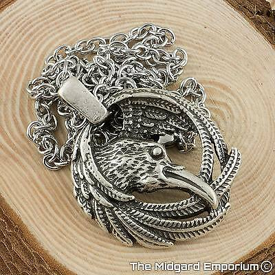Viking Odin's Raven Silver Pendant With 3mm 50cm Cross Chain Necklace