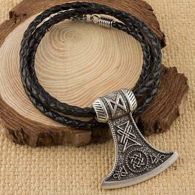 Viking Norse Axe Pendant With Handmade Real Leather Necklace