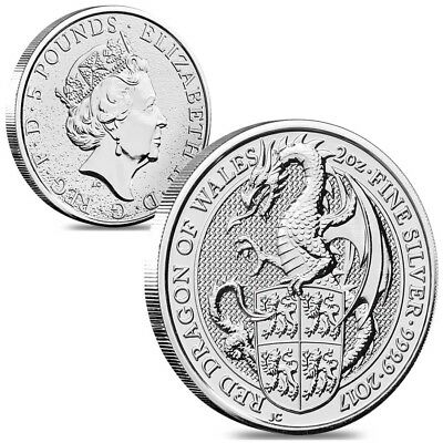 Lot of 2 - 2017 Great Britain 2 oz Silver Queen's Beast (Red Dragon) Coin .9999