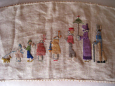 Sweet Vintage Family W/Dog Cross Stitch Completed Handworked
