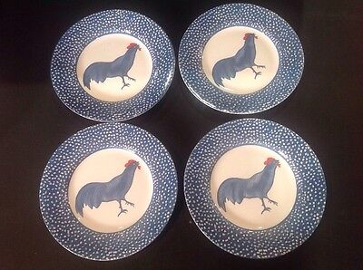 4Burgess & Leigh Burleigh Chanticleer Dinner Plates Blue Rooster Alice Cotterell