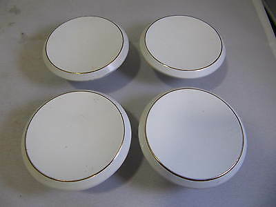"Vintage 2"" Mid Century Concave White Gold Ring Drawer Door Knobs Lot of 4"