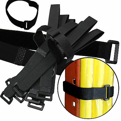 """Durable 10 Hook and Loop Reusable Cable Tie Down Straps Kit 20 inch x 1"""" Black"""