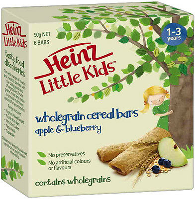 Heinz Little Kids Wholegrain Cereal Bars Apple & Blueberry 90G From 1-3 Years