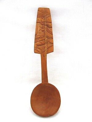 Antique Wooden Spoon Carved Wood Folk Art Handle Of Man W/Large Hat Great Patina