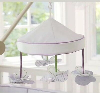 NWT Pottery Barn Kids Baby Lavender Butterfly Nursery Crib Mobile No Arm