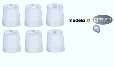 6 Medela Clear Travel Caps bottle Nipple Collar Cap - Genuine New