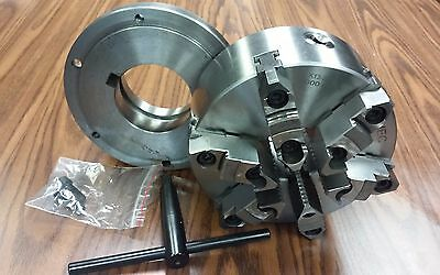 """8"""" 6-JAW SELF-CENTERING  LATHE CHUCK w. top&bottom jaws, L1 adapter back plate"""