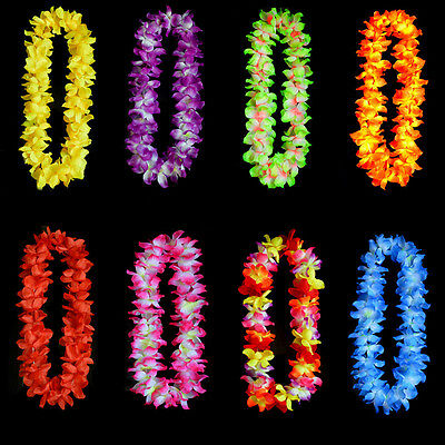 Tropical Beach Theme  Luau Party Flower Leis Necklace Garland 8Colors
