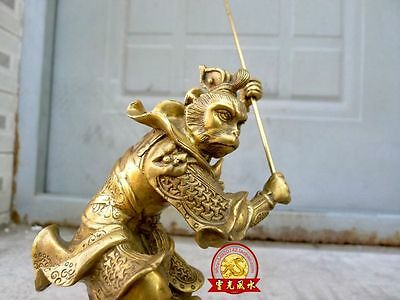 6 inches China Myth Brass Sun Wukong Monkey King Hold Stick Fight Statue
