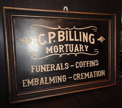 Hand Painted Framed Vintage Style Mortuary Funeral Wooden Sign