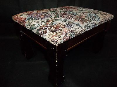 h4 Vintage Dark Solid Wood Foot Stool with Floral Needlepoint Top