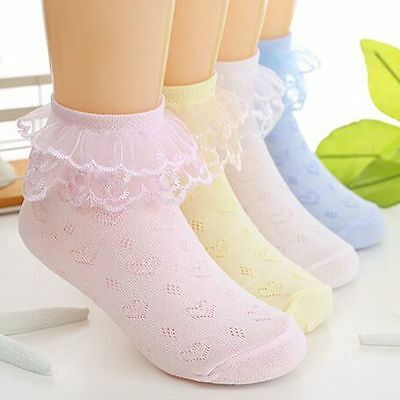 Spring Summer Baby Girl Cotton Lace Ruffle Princess Breathable Short Ankle Socks