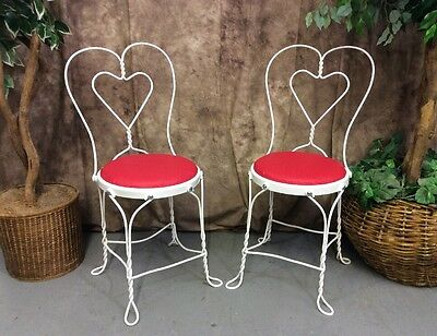 Set Of 2 Vintage White Ice Cream Parlor Chairs w/Sweetheart Twisted Wrought Iron