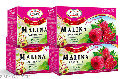 4 Packs Malwa Malina Raspberry Fruit Tea, Herbatka Owocowa,  80 tea bags