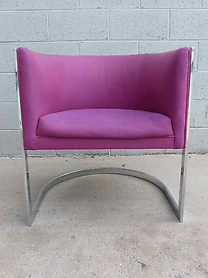 Metropolitan Furniture Chrome Cantilever Barrel Lounge Chair MILO BAUGHMAN era