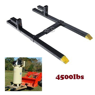 4500lbs Clamp on Pallet Fork w/ Adjustable Stabilizer Bar Heavy Duty for Loaders