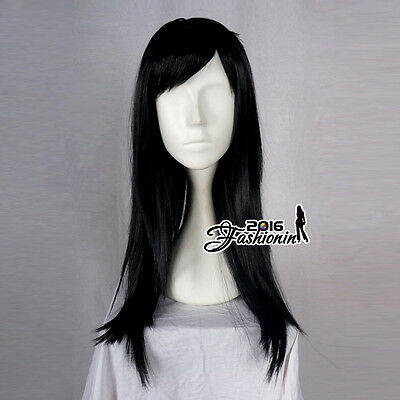 60CM Long Black Straight Basic Synthetic Hair Women Fashion Cosplay Party Wig