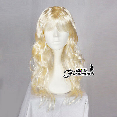 60CM Light Blonde Long Curly Synthetic Hair Fashion Women Cosplay Party Wig