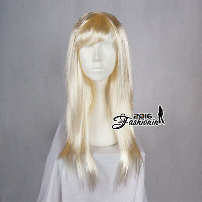 60CM Long Light Blonde Straight Synthetic Hair Women Fashion Cosplay Party Wig