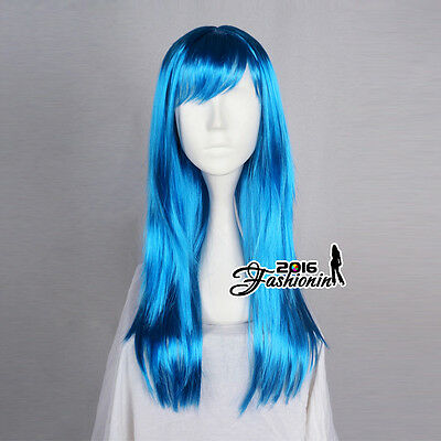 60CM Long Blue Straight Basic Synthetic Hair Women Fashion Cosplay Party Wig