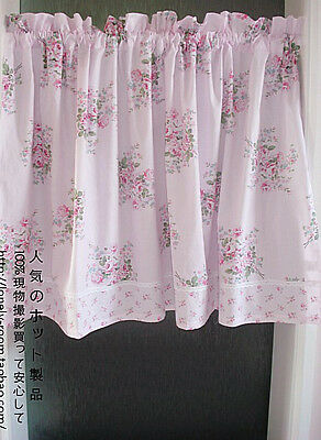 French Country Cottage Shabby Chic Fl Pink Kitchen Cafe Curtain Tier Valance