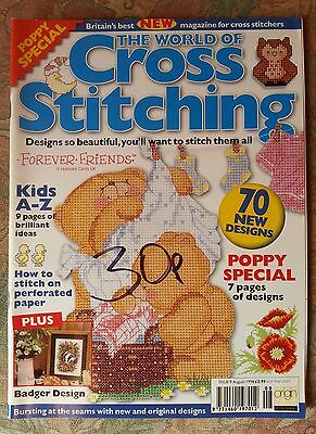 The World Of Cross Stitching # 9 Poppy - Badger - Forever Friends - Kids Abc -