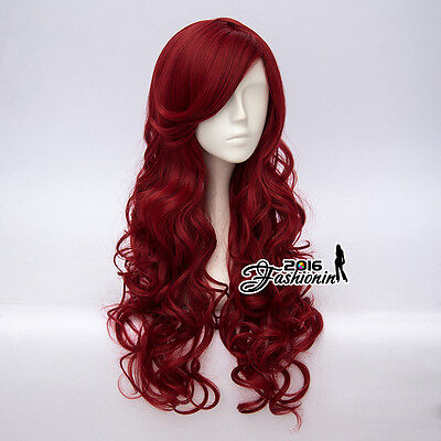 65CM Red Girls Lolita Long Curly Women Fashion Party Hair Cosplay Wig+Wig Cap
