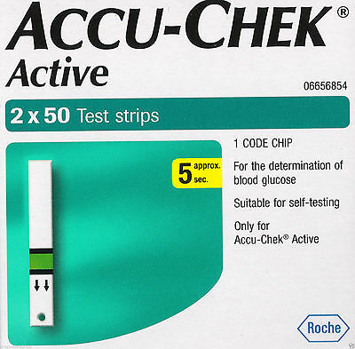 100 Test Strips for Glucometer Accu-Chek Active   1 Code Chip   Free Shipping