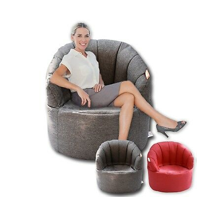 Shell Bean Bag Sofa Beanbag Cover Reading Relaxing Chair Seat Lounge Bed - Grey