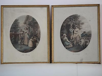Morning & Evening tinted lithographs by P W Tomkins from a painting by W Hamilto
