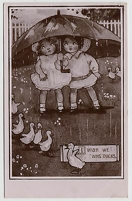 "POSTCARD - artist drawn children with umbrella in rain ""I wish we was ducks"""