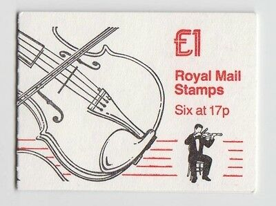 GB Royal Mail stamps £1 folded booklet, Musical Instruments 1, Violin