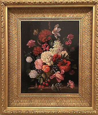 R Waite, Antique Still Life Oil Painting In A 19th C Gilt Frame