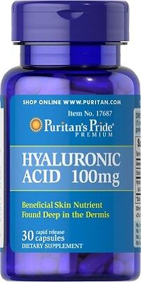 Puritans Pride Hyaluronic Acid 100mg X30 Rapid Release Caps For Joints & Tissue