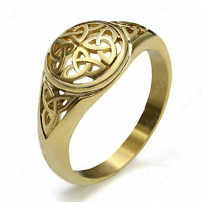 Ladies Gold Celtic Knot Trinity Triquetra Stainless Steel Promise Ring