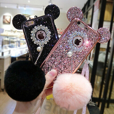 Luxury Pendant Furry Ball Rabbit Fur Soft Clear Case Cover For iPhone 5s 6S Plus
