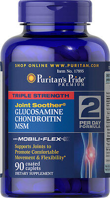 Puritans Pride Triple Strength Glucosamine Chondroitin & Msm Joint Soother X90