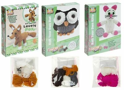 Kids Childrens Knit Your Own Kitty Owl Fox Toy Plastic Needle Arts Crafts Hobby