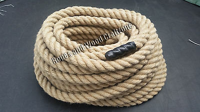 28mm 100% Natural Jute Rope 3 Strand Twisted Decking Cord Garden Boating Camping