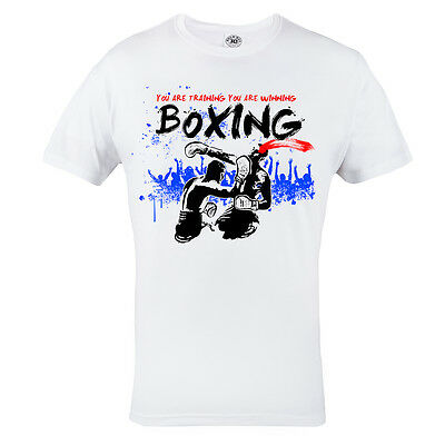 T-Shirt Mma Boxing You Are Training You Are Winning Casual Box 100% Cotton White