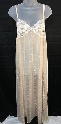 5f3bda4db12 Vintage Val-Mode Pale Pink Sheer Nylon Long Flowing Small Nightie Lace  Ripped